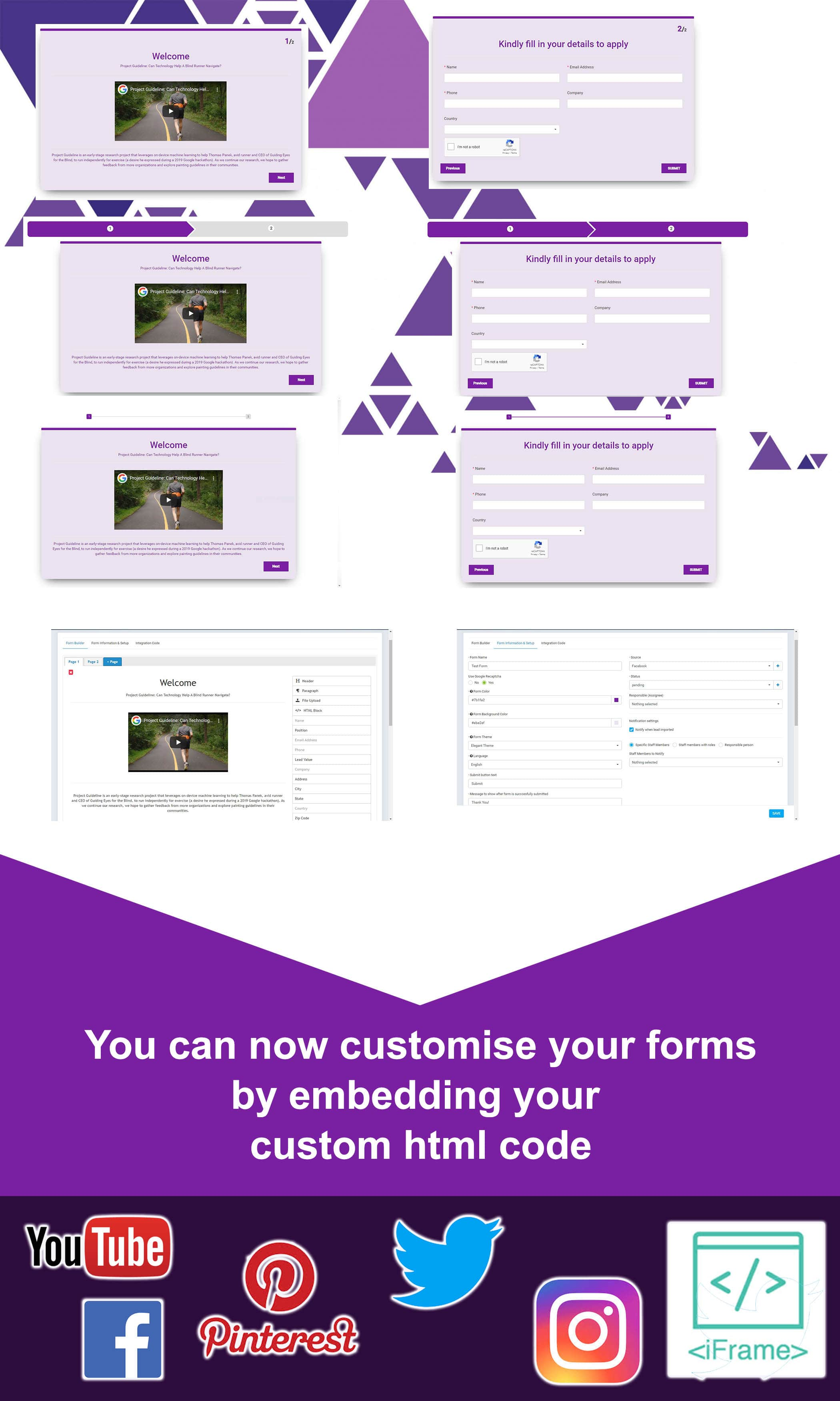 multi-page web to lead form